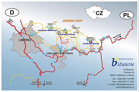 Mapa Jizerské hory.