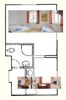 Mapa třílůžkového apartmánu Penzion Janov, Jizerské hory